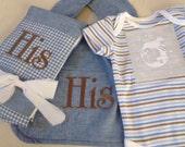Baby boy gift set, bib,burp pad, onesie