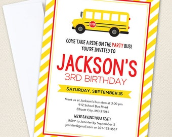 School Bus Party Invitations - Professionally printed *or* DIY printable