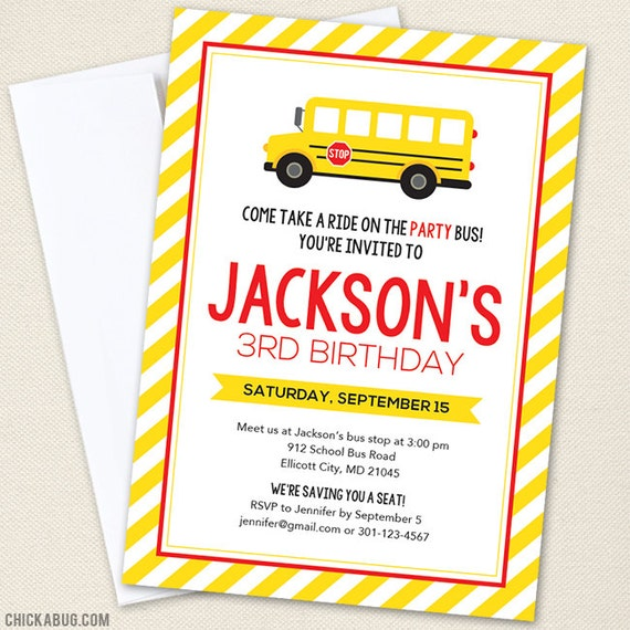 School bus party invitations professionally printed or diy like this item stopboris Image collections