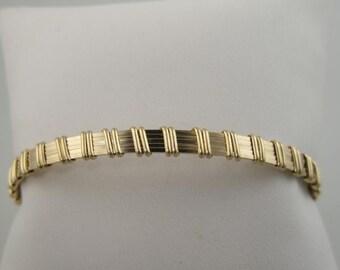 WSB-0116 Handmade 14k Gold Filled Wire Wrapped Bangle Bracelet