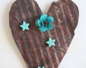 handmade hanging rusty heart with metal turquoise rose and faux turquoise stars