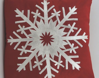 """Embroidered Decorative Pillow Cover - Snowflake - 18"""" x 18"""" Red (READY TO SHIP)"""