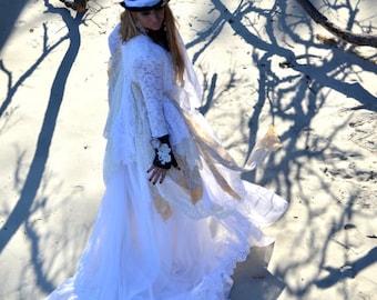 Plus size, Stevie Nicks style coat, Spell n Gypsy lace jacket, Bohemian lace duster, winter white coat dress Boho dress True rebel clothing