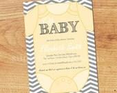 Gender Neutral Baby Shower Invitation-Digital Custom Card-Baby Onesie