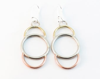 Eclipse Triple Earrings // Simple Geometric Dangles // Tricolore Mixed Metal