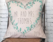Christmas Gift Pillow Cover Wedding Gift Cotton Anniversary Gift Teal Leaves Heart