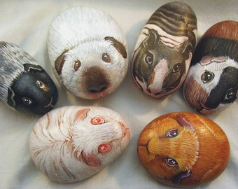 Pet Portrait Guinea Pig, Mouse, Rabbit or Hampster - Rocks by Shelli Bowler,   3-4 in. 3D stone