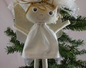 READY TO SHIP Angel Christmas Tree Ornaments, Rag Doll, variety of skin tone and variety of hair color, Cloth Doll, Plush Toy, Fabric Doll
