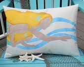 """Mermaid pillow MOTHER DAUGHTER 14""""x20"""" (38x50cm) indoor-outdoor blonde mom/brunette daughter ships tomorrow ocean merfolk Crabby Chris"""