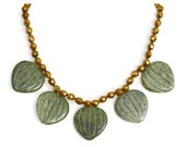 Green Choker of Etched Moss Jasper and Bronze Vintage chain