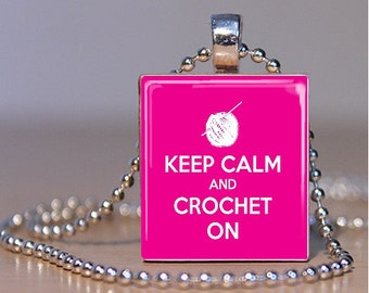 Pink Keep Calm and Crochet On Scrabble Tile Pendant Charm FREE CHAIN!