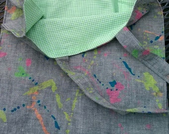 farmers market / grocery tote in grey with neon green, blue, pink and yellow - green and white checks inside