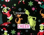 RARE! Christmas Grinch Dr Seuss Cotton Fabric Black BTY
