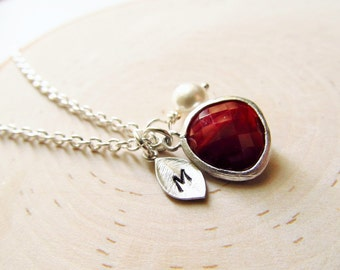 Garnet Necklace, January Birthstone Necklace, Personalized Necklace, Birthstone Jewelry, January Birthday Jewelry, Simulated Garnet Jewelry