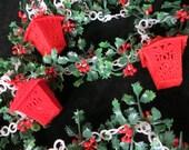 Vintage Flocked Garland with Lanterns / Plastic Christmas Garland  / Window Garland