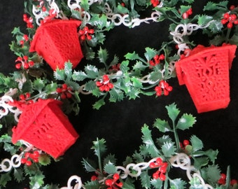 Vintage Christmas Garland with Flocked Lanterns and Holly