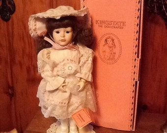 Vintage Porcelain Doll Kingstate Michelle Beautiful Lace Dress & Hat MIB
