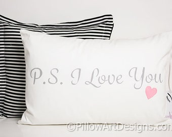 White Cotton Lumbar Pillow with Words P.S. I Love You 12 X 18 Insert Included Made In Canada