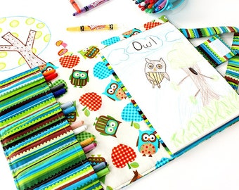 Gingham Owls Crayon Artist Case, Ready to ship, Art wallet, Crayon bag, Travel art toy, Crayon tote, Crayons and paper pad included