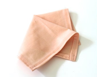 Ice Peach Solid Pocket Square - matches BHLDN Cameo Pink bridesmaids dresses - wedding handkerchief father of the bride handkerchief mother