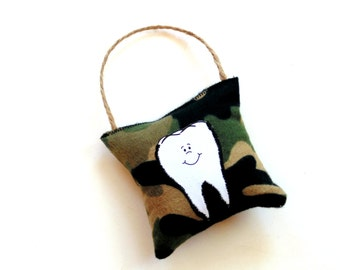 Tooth fairy pillow, kids pillow, camouflage, small pillow, boy or girl pillow, dental, gift for child