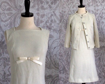 Vintage 1960s Cocktail Dress 60s Party Dress with Jacket Off White Vintage Dress Womens Semi Formal Dress with Jacket Size Small