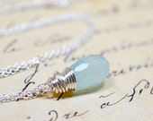 Seafoam Teardrop Necklace / Soft Blue Faceted Teardrop / Simple Wire Wrap Jewelry, Mint Blue Drop