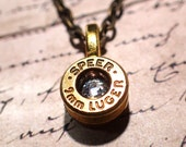 Bullet Necklace jewelry 9mm bullet casing made into necklace brass bullet shell up cycled jewelry with crystal in center