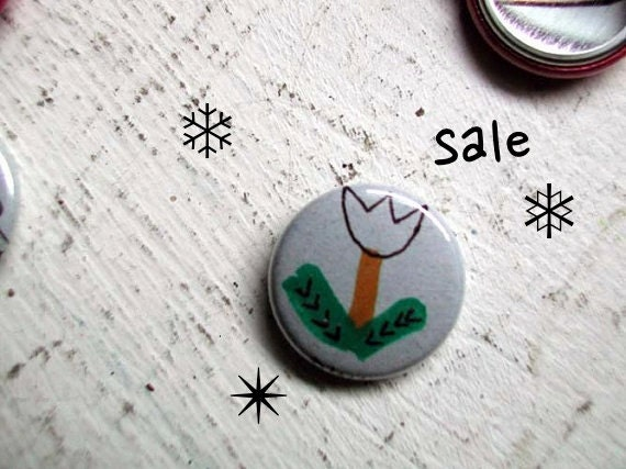 HOLIDAY SALE Little Tulip Pinback Button (drawn by hand, not a print) from the 1 Inch Pin Button project