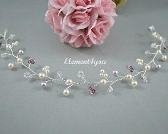 Bridal hair vines, Bridal hair accessory, Ivory Purple Lavender hair vines, Pearls Crystals silver hair vines, Amethyst crystals, Handmade
