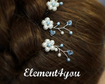 Something Blue Bride Bridal Hair Bobby Pins Clips Swarovski pearls Flower beaded silver pins Hair piece Wedding Flower girl accessories