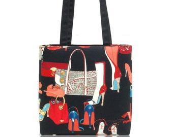 "US Handmade Handbag Shoulder Bag With "" HIGH HEELS""  Pattern Cotton Fabric, New, Rare"