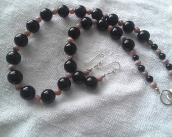 Rhodochrosite and Black Onyx Necklace and Earring Set
