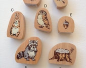 Beautiful Japanese Wooden Rubber Stamp - Forest Series-Acorn, Birds, Rabbit, Racoon, Tree Stump and owl (Choose One)