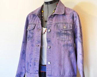"Violet Medium Denim JACKET - Lilac Purple Hand Dyed Upcycled Sonoma Denim Trucker Jacket - Adult Womens Medium (44"" chest)"