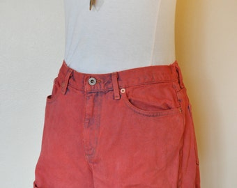 Red Sz 30 Guess Denim SHORTS - Hand Dyed Scarlet Red Urban Style Distressed Denim Vintage Guess Jean Shorts - Adult Womens Size 30 Waist