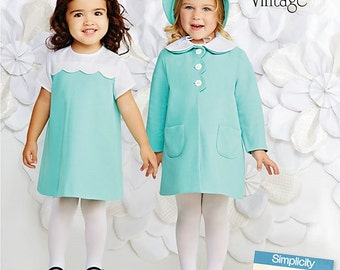Toddlers' Dress, Coat and Hat Pattern, Vintage 70's Dress and Coat Pattern, Sz 6mo to 4, Simplicity Sewing Pattern 1207