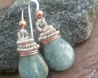 Petite Enchanted Kyanite, Copper, Silver, and Kyanite earrings, ThePurpleLilyDesigns