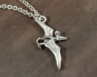 Pterodactyl Necklace, Silver Pterodactyl Dinosaur Charm on a Silver Cable Chain