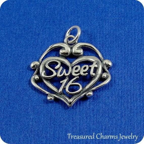 Sweet 16 Charm Bracelet: Sweet 16 Heart Charm Sterling Silver Sweet Sixteen Charm For
