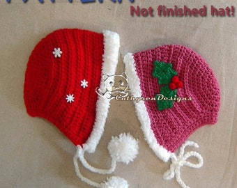 Christmas Hoodie/Bonnet with Applique Sprig Holly, 3 Sizes-  INSTANT DOWNLOAD Crochet Pattern