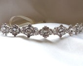 Maria Wedding bridal crystal headpiece headband satin ribbon vintage inspired band