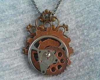Steampunk Gear Pendant Necklace