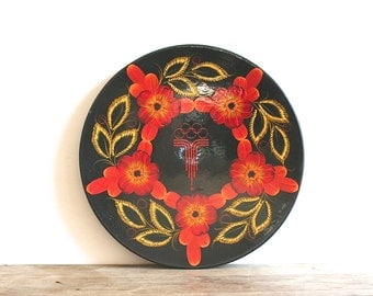 1980s Moscow Olympics Hand Painted Lacquer Russian Plate Wood Floral
