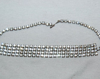 Vintage / Large / Rhinestone / Necklace / Four layers/ Old Jewelry / Jewellery