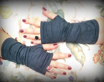 Blue- gray  gloves Imitation leather