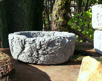 Rough and Right! Small Oval Hypertufa Planter in Slate Concrete Suculent Planter