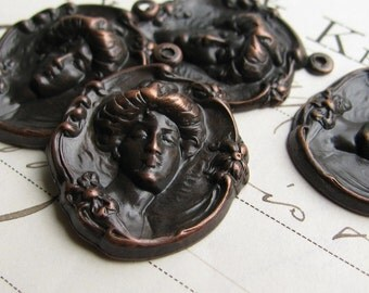 Gibson Girl charm, black antiqued brass (4 small pendants) woman's face, Edwardian fashion, Titanic era, American fashion eras