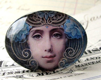 "Handmade glass cabochon - Art Nouveau ""Mask"" - 40x30 30x40 40x30mm 30x40mm oval, horizontal orientation, wide, woman face, blue, swirls"