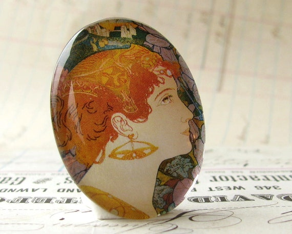 Art Nouveau Woman with Golden Earring, handmade 40x30 40x30mm 30x40mm 40 30 mm glass oval cabochon, blue, green, orange, yellow